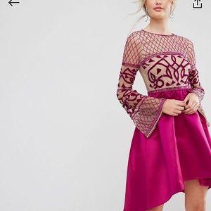 NWT-Embellished Midi Dress w/ Asymmetrical Skirt